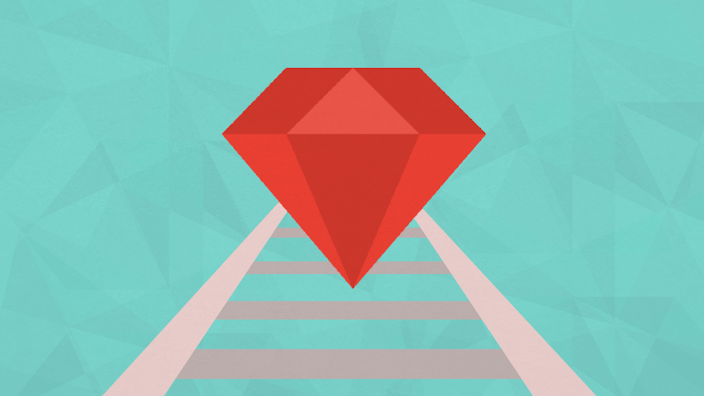 Illustration of a ruby on some train tracks