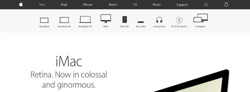 Screenshot of the Apple website