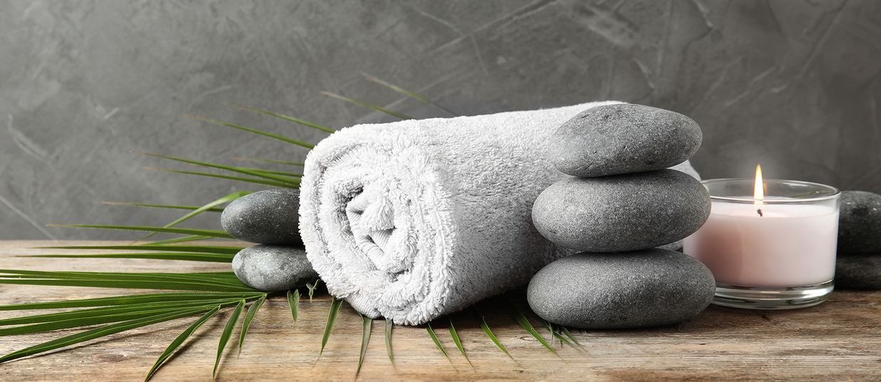 A towel with massage stones