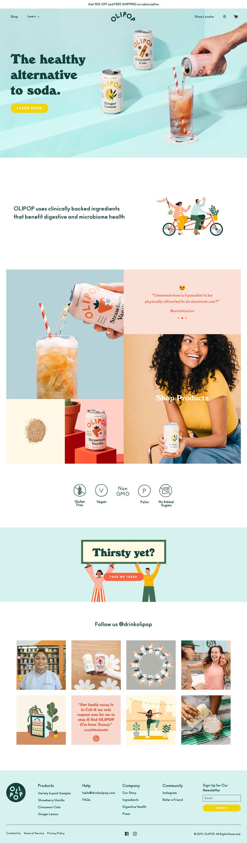 The homepage of DrinkOlipop.com.