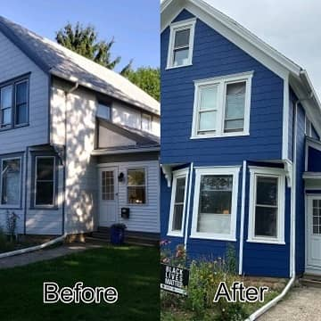 before and after of a white house painted blue