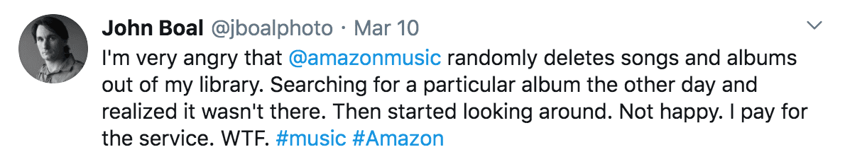 Angry tweet about the service at Amazon music