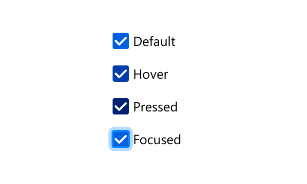 Illustration of all appearances a checked Checkbox can show when interacted with.