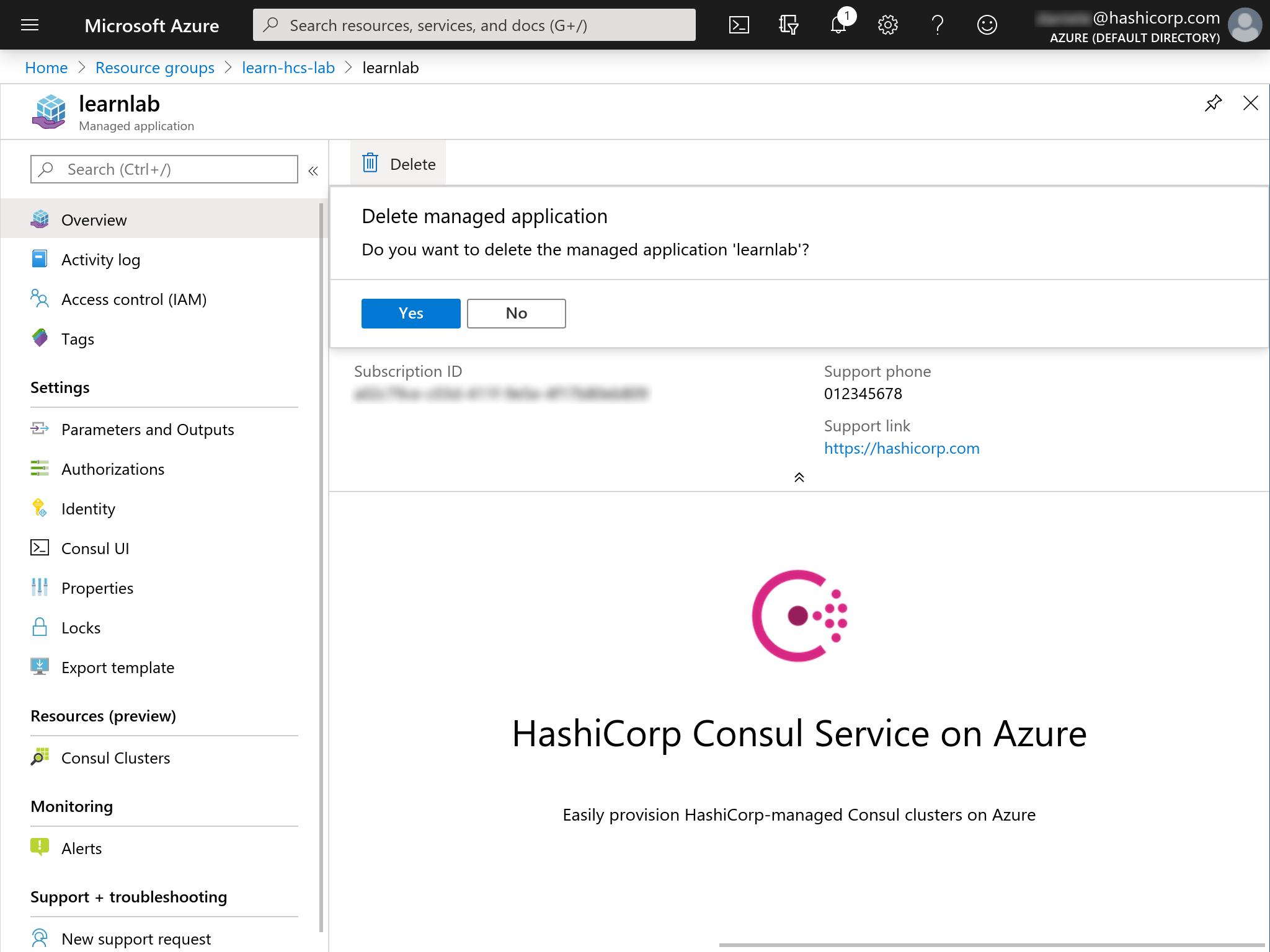 Azure Marketplace Consul HCS delete