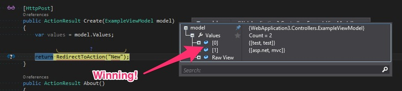 debugging with successful values