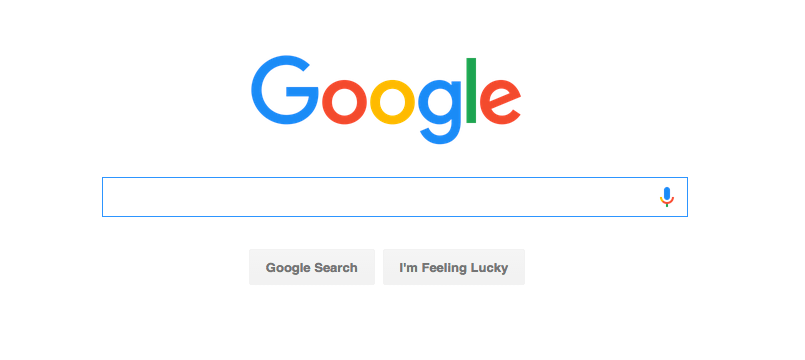 Google's new logo on its iconic homescreen.