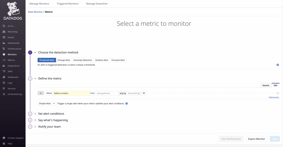 Choose the detection method for your metric.