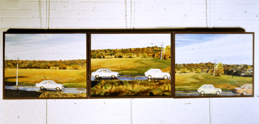 three panel painting cars on road with fields and pylons in background