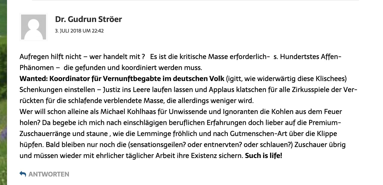 Gudrun Ströer kommentiert