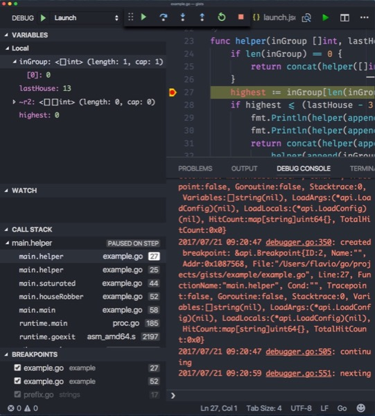 Go Debugging with VS Code and Delve
