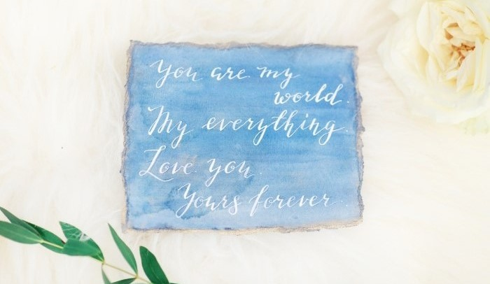 a part of a wedding vow in watercolor and calligraphy item thumbnail