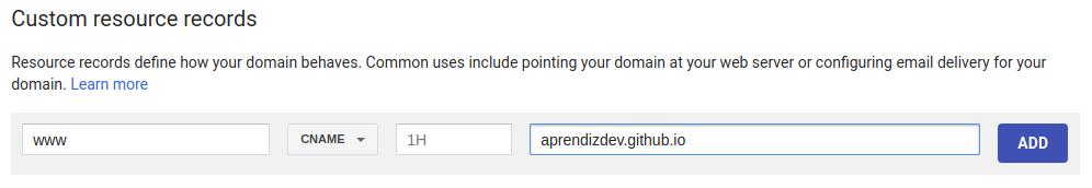 Adicionando o CNAME no Google Domains