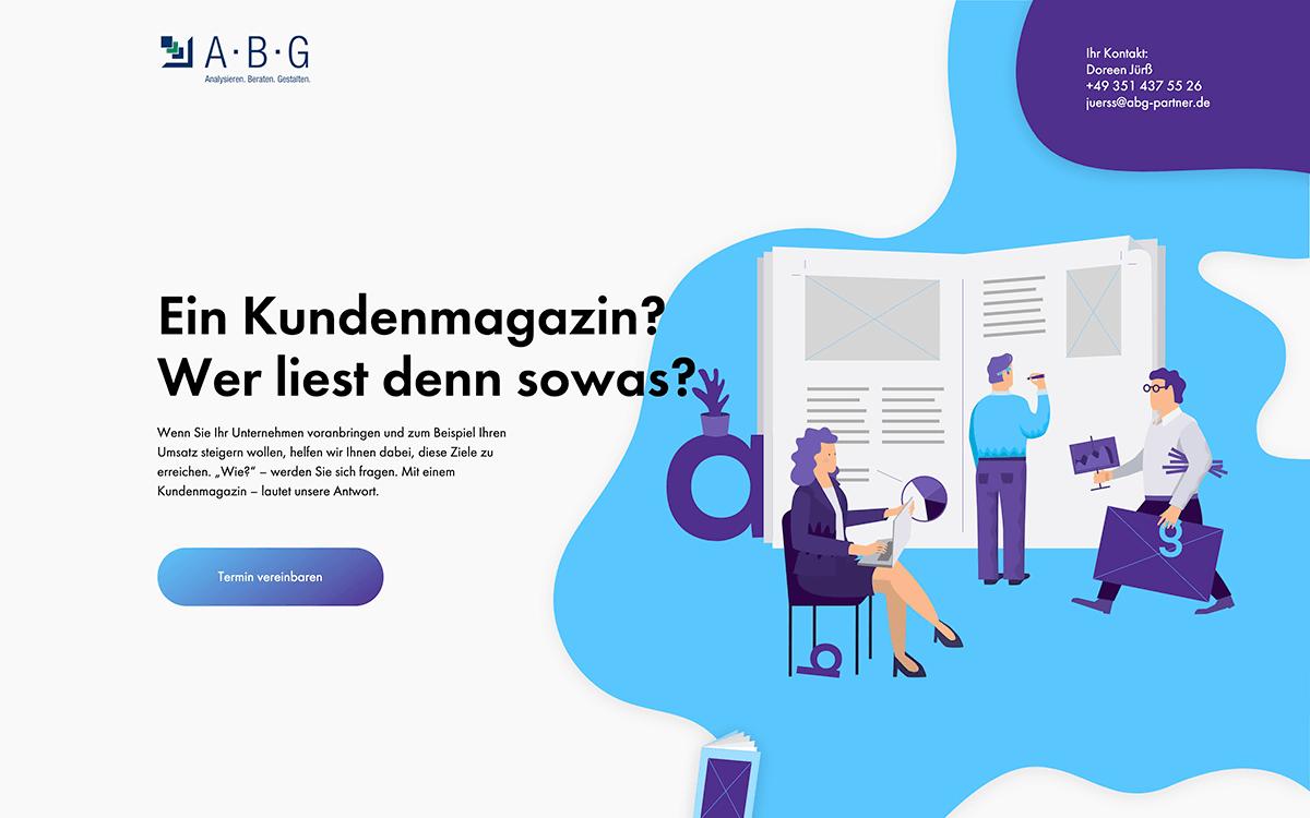 Header der Website mit Illustration von ABG mit Titel: Ein Kundenmagazin? Wer liest denn sowas?