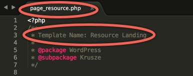 Saving and naming a resource page template for WordPress.