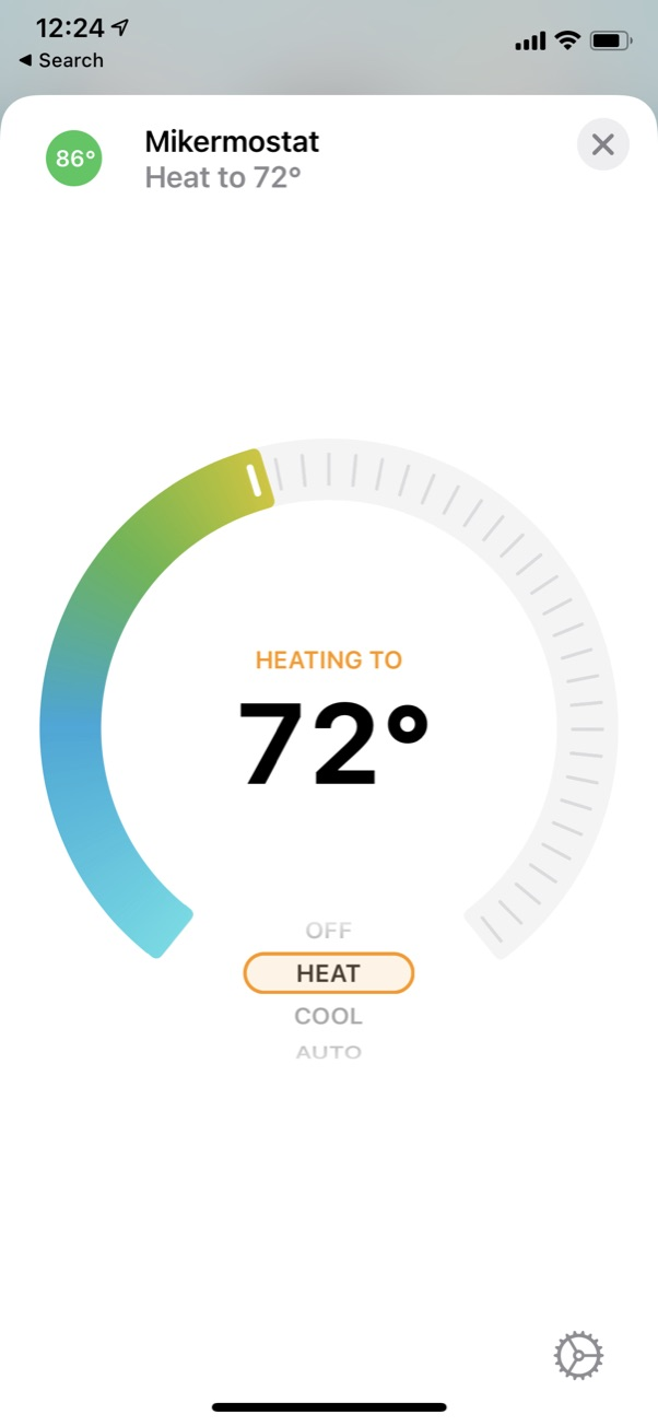 Homekit screenshot showing thermostat