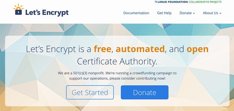 หน้า home page ของ letsencrypt