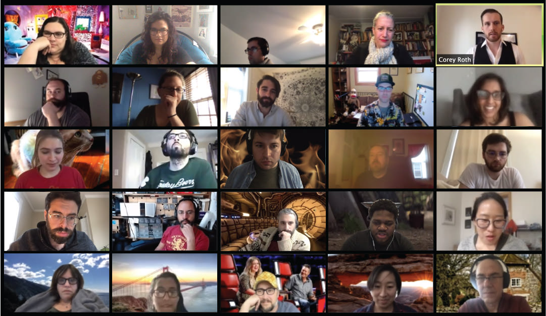 Zoom screen capture of Hive Mind participants in 4 over 5 grid.
