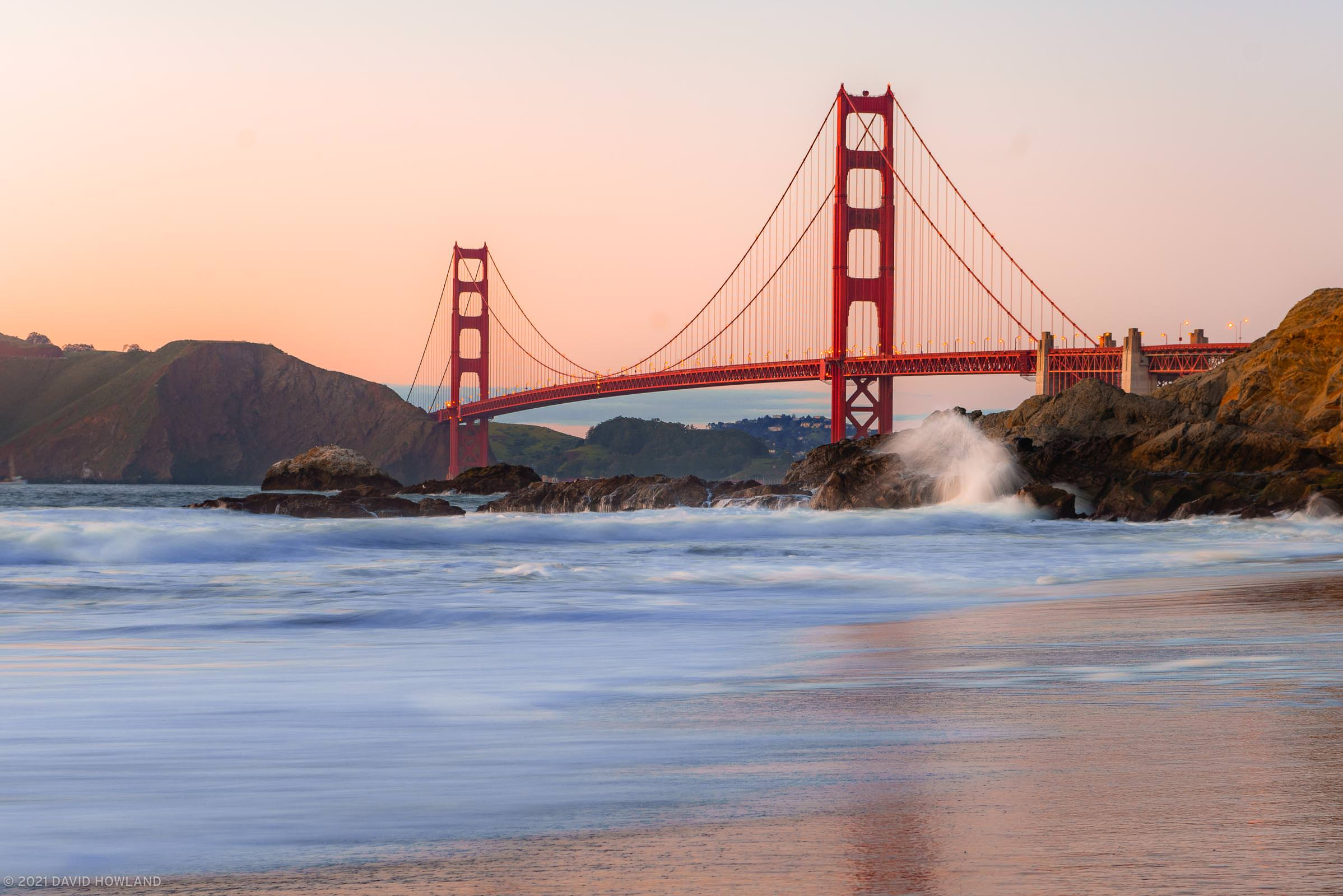 Golden Gate Bridge Sunset from Baker Beach
