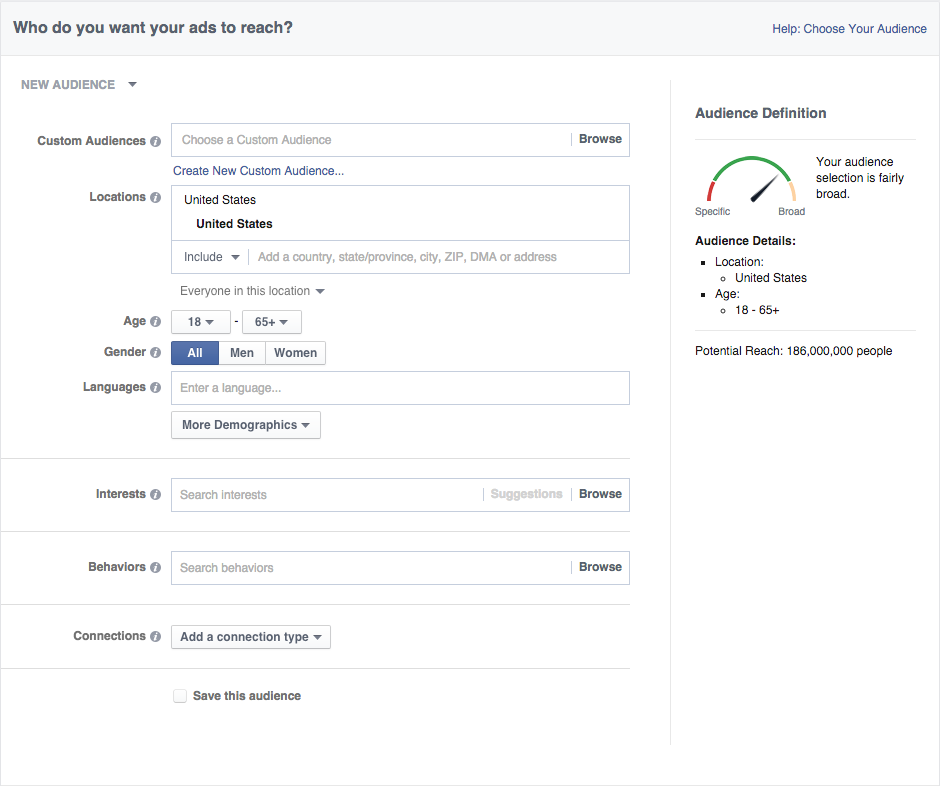 Options to build target audience based on location, age, gender, language, job titles, and more.