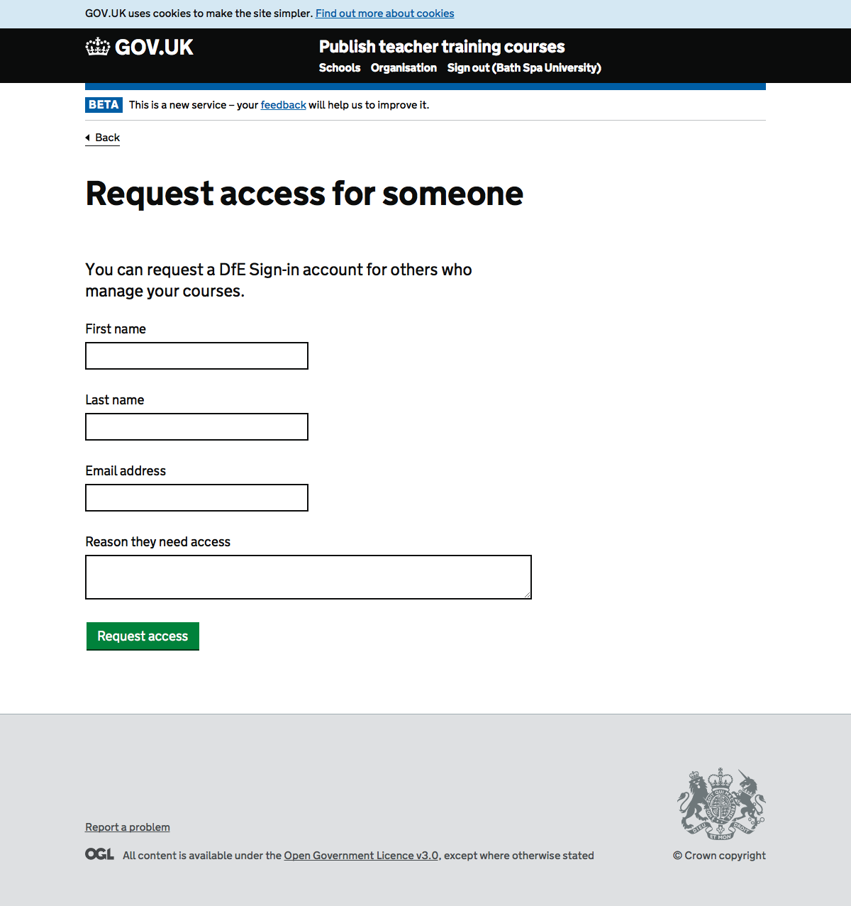 Screenshot of Request access for someone