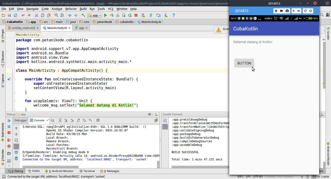 Aplikasi Android dengan Kotlin Extensions