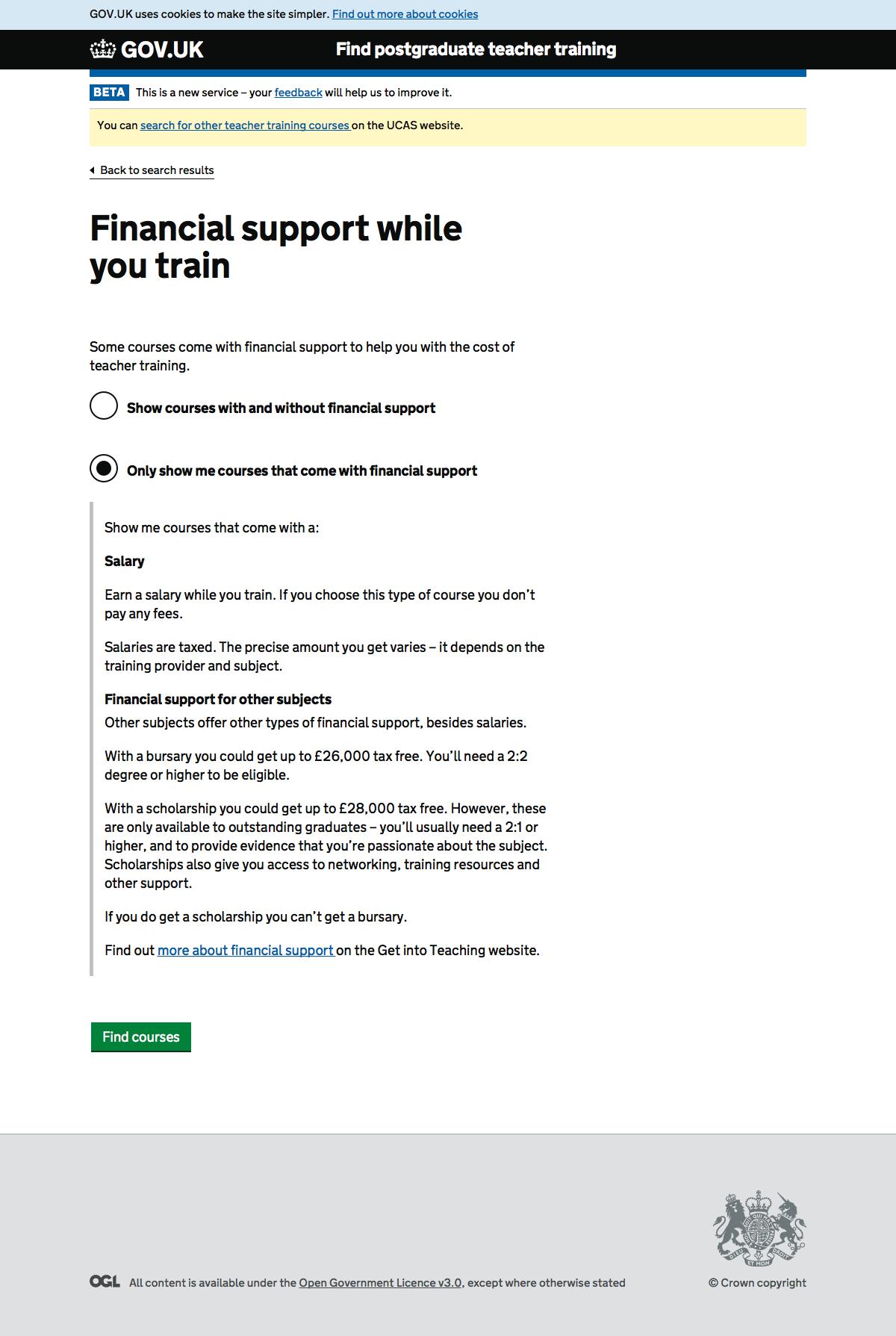 Screenshot of Financial support