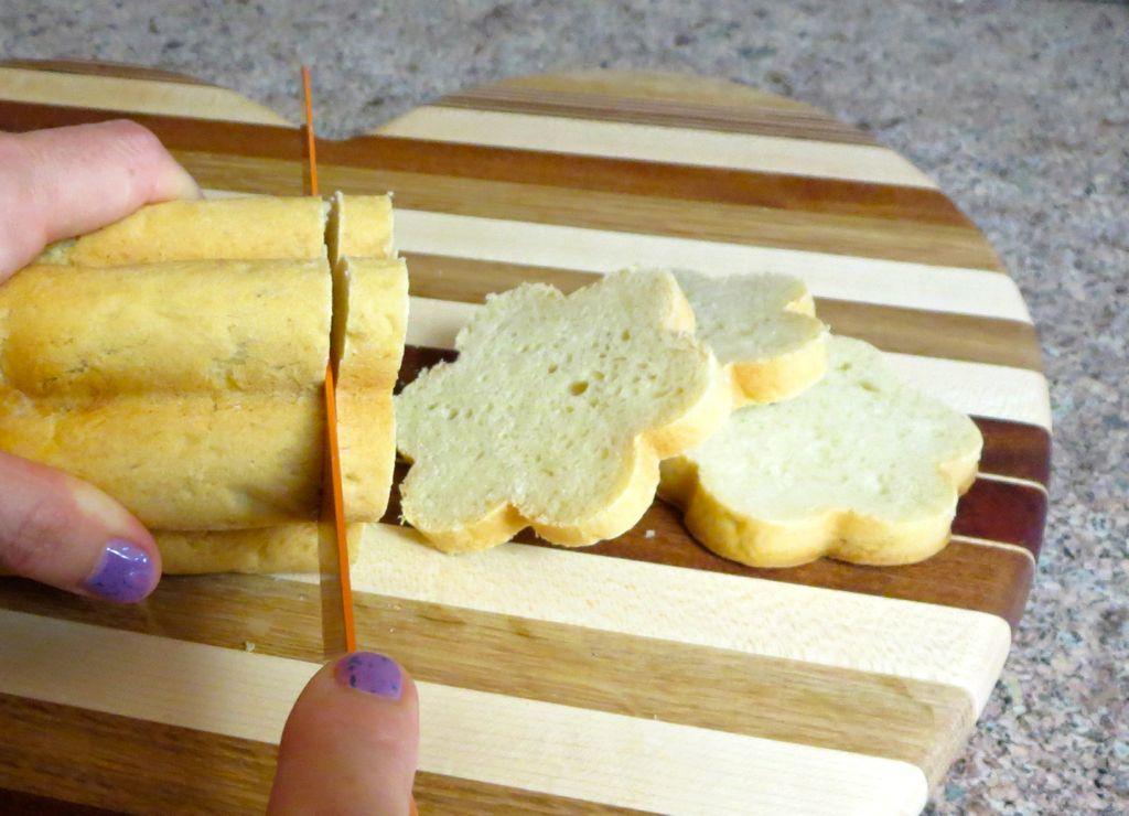 Slicing pizza dough bread