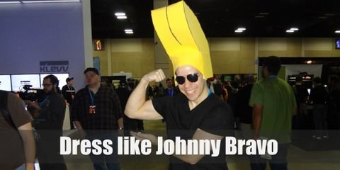 Johnny Bravo looks like a blonde Greaser. Johnny Bravo's clothes is simple but his hair is the real star of the show. His blonde hair is styled in an exaggerated pompadour that looks impossible to achieve in real life. He pairs this hairdo with a simple black shirt and blue denim pants.