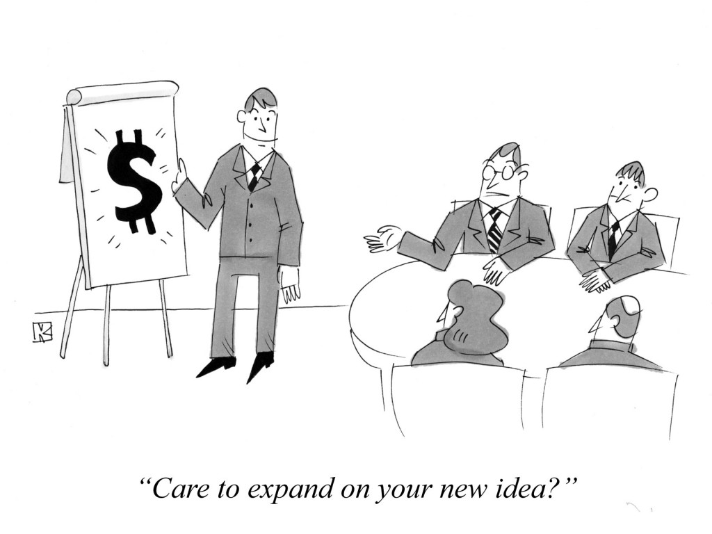 Cartoon about business ideas.