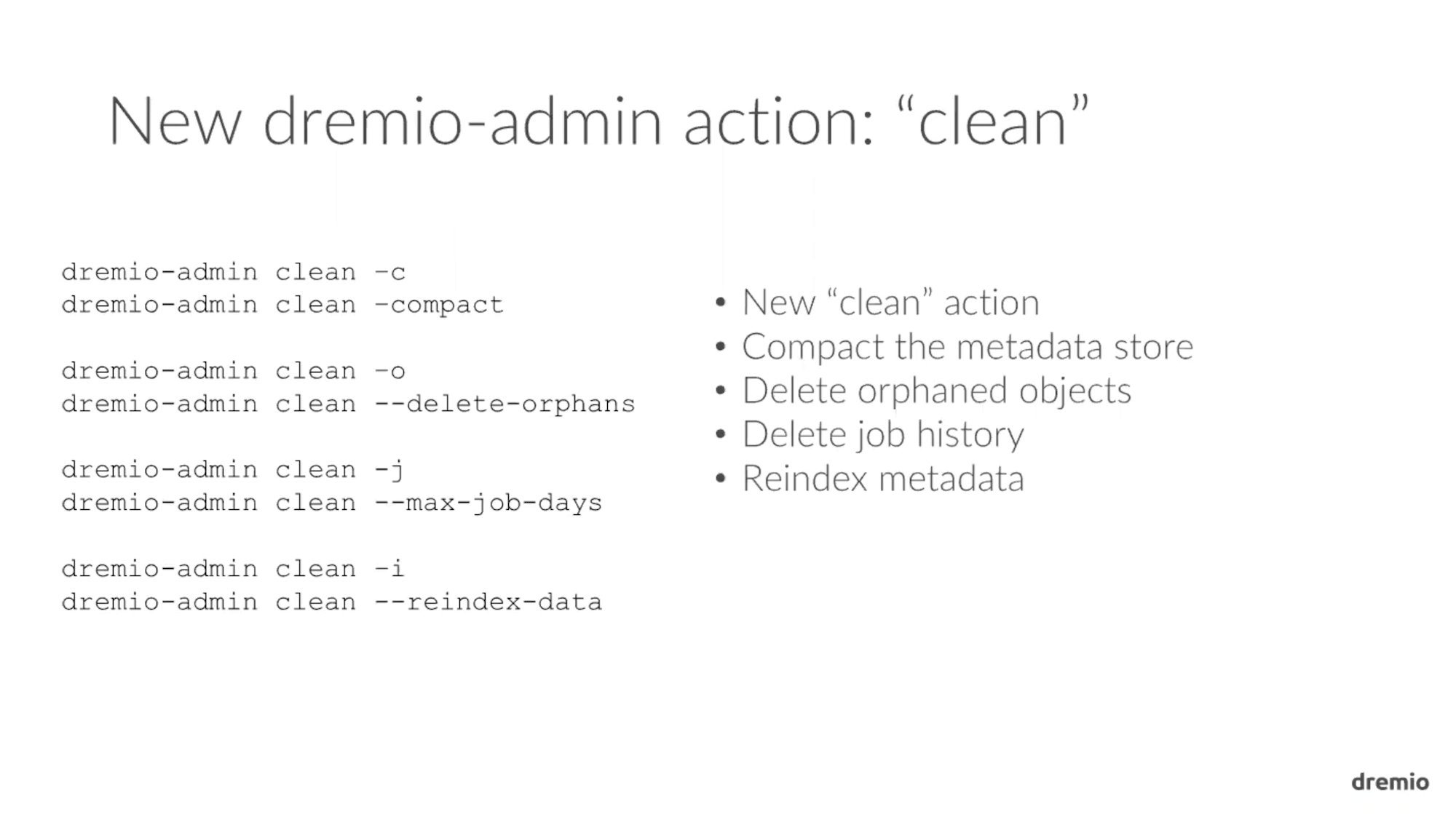 Dremio 1.3 Admin Action Clean