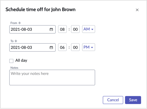 The Schedule time off form.