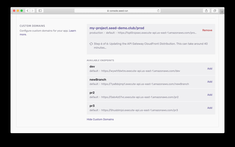 Adding Custom Domain progress