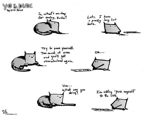 procrastinating cat cartoon