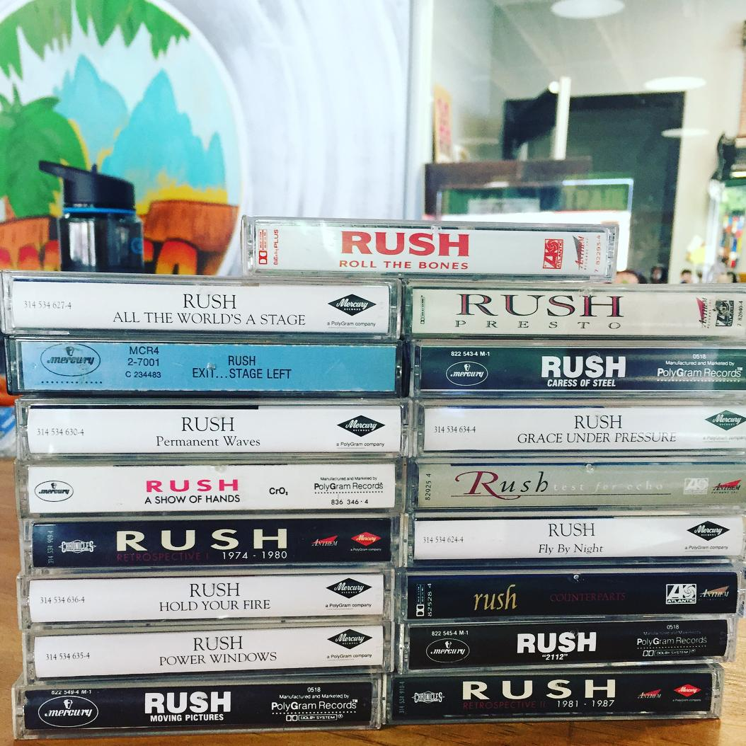 Two stacks of Rush tapes