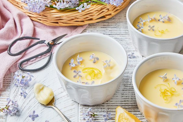 Creamy Lemon Possets Infused With Lilac