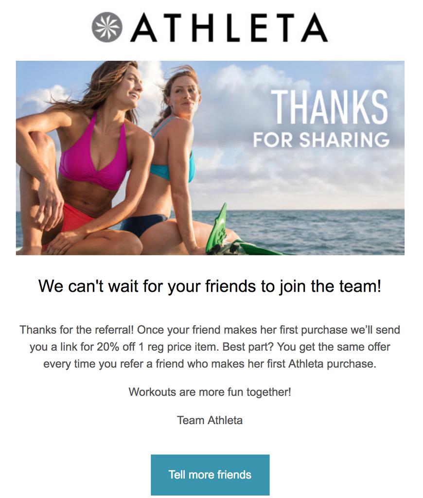 Athleta Thanks for sharing email