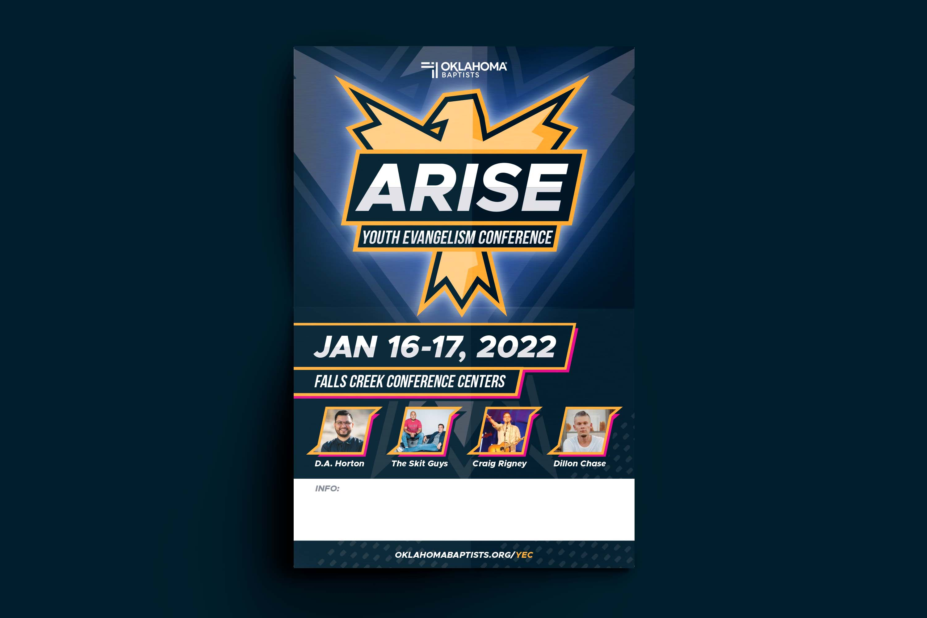 The front of a poster mailer to help student pastors and churches get involved in promotion.