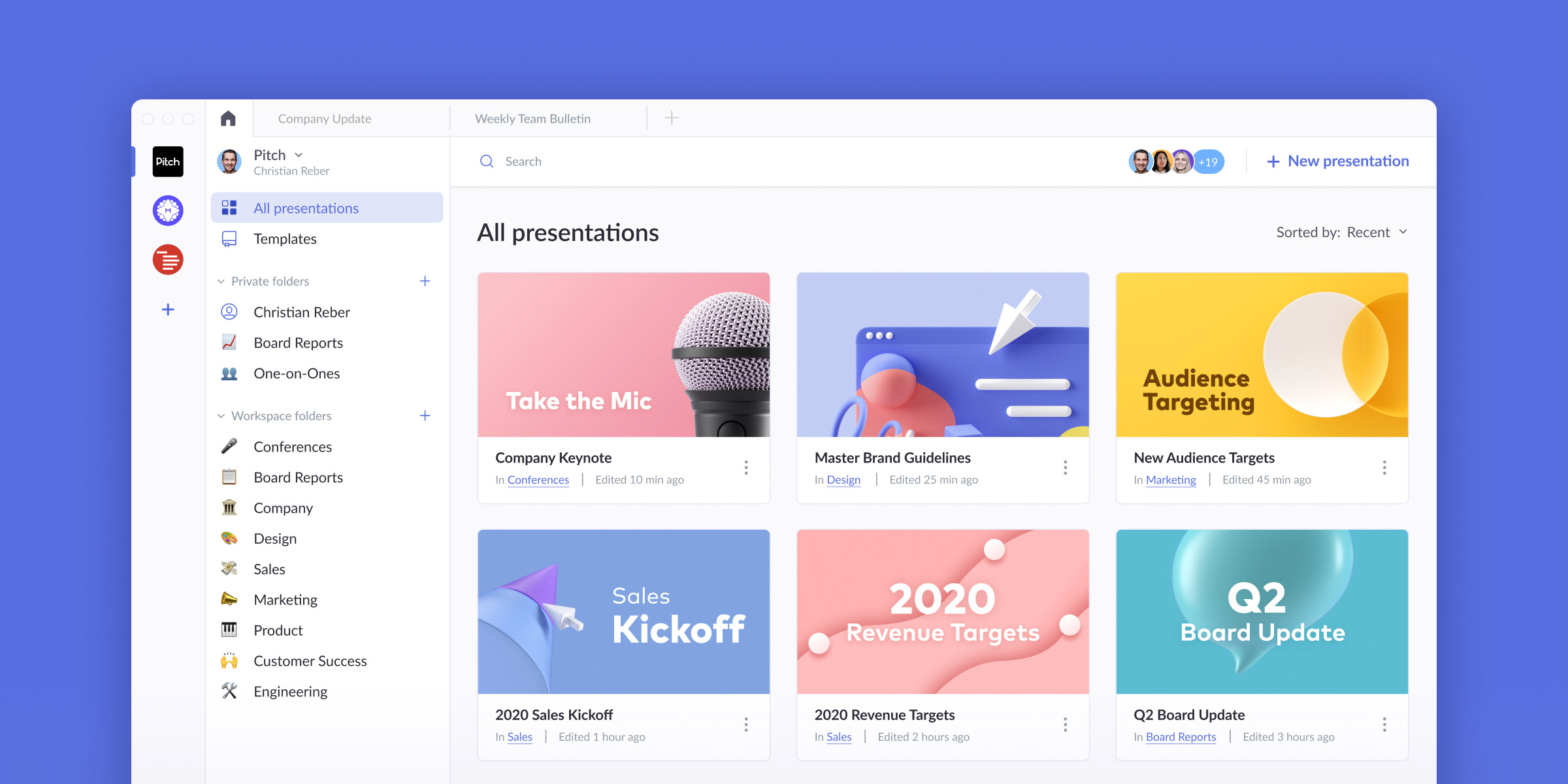 Pitch helps teams create, collaborate on, and distribute better presentations faster and more effectively than ever before.