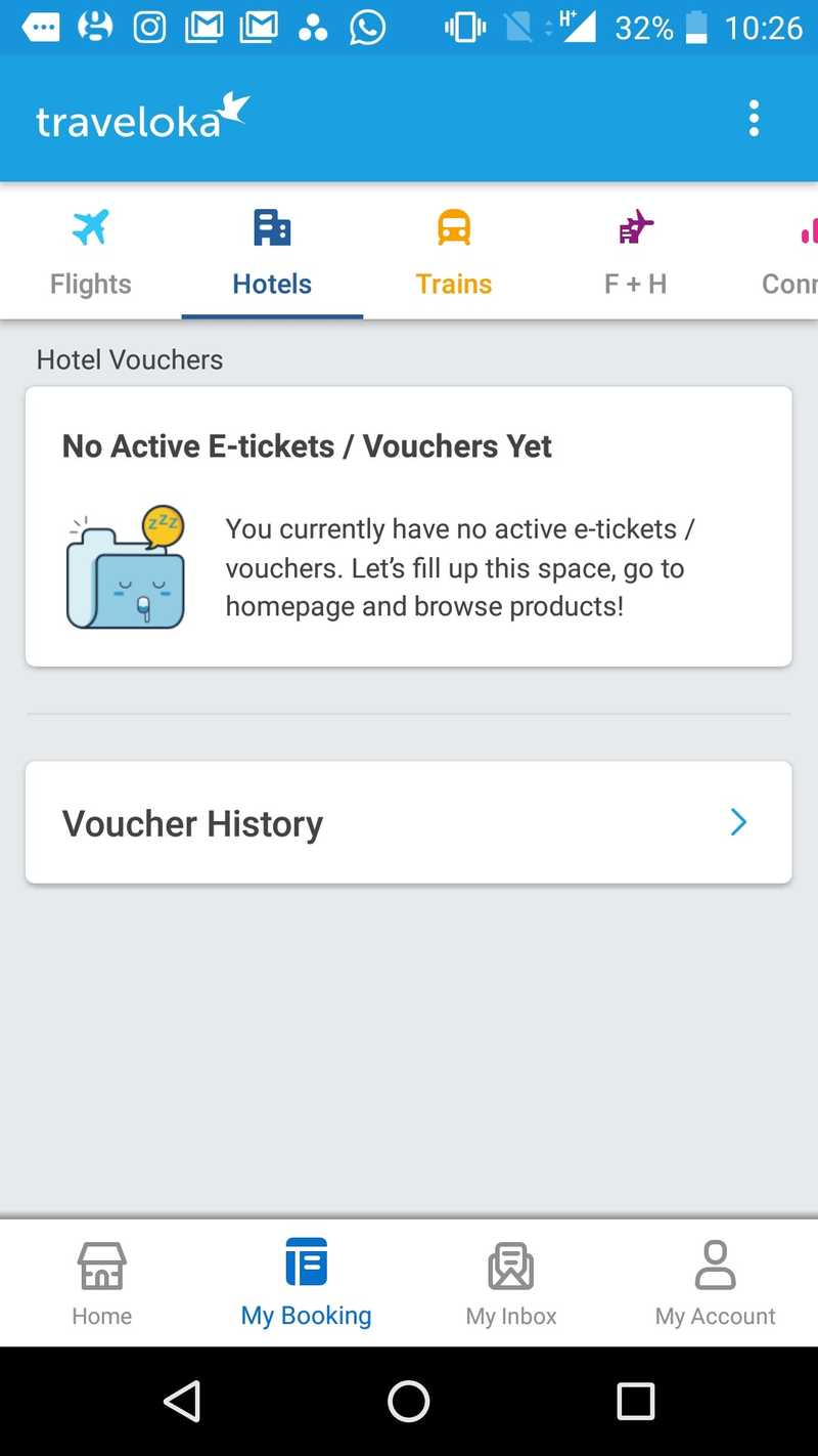 Screenshot of No active e-tickets or vouchers in Traveloka app.