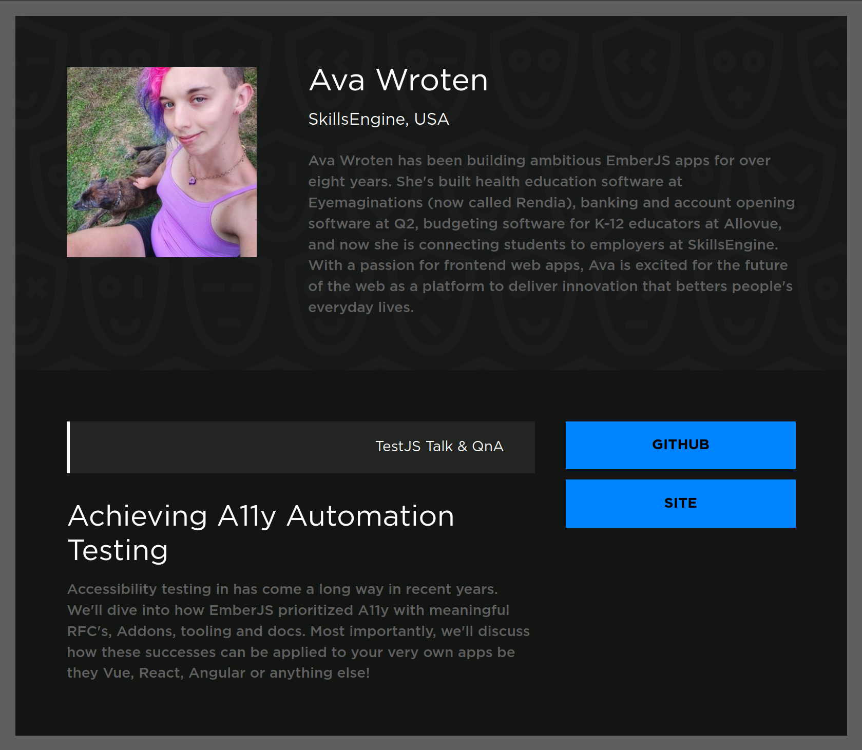 Achieving A11y Automation Testing: Accessibility testing in has come a long way in recent years. We'll dive into how EmberJS prioritized A11y with meaningful RFC's, Addons, tooling and docs. Most importantly, we'll discuss how these successes can be applied to your very own apps be they Vue, React, Angular or anything else!