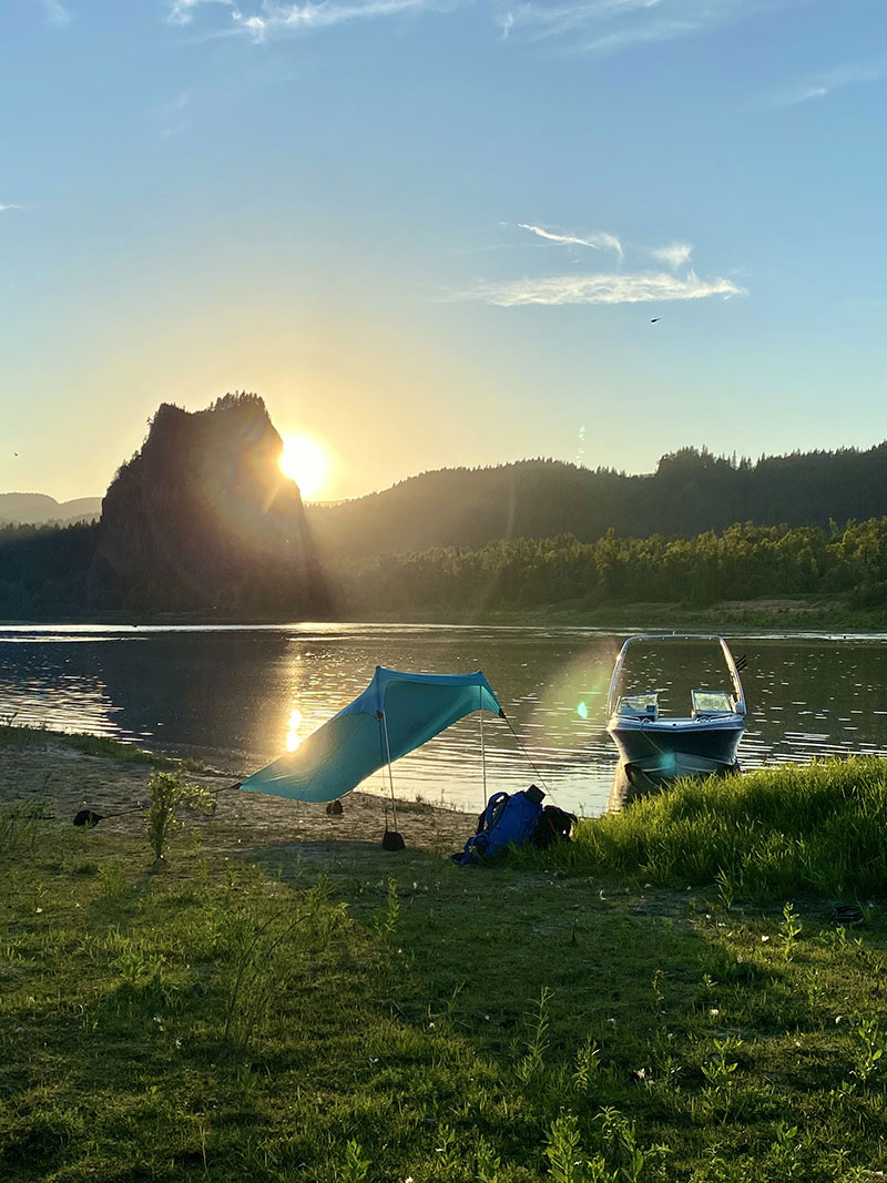 Camping near Beacon Rock in the Columbia River Gorge