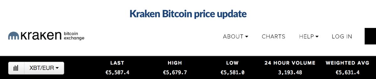 Picture of bitcoin exchange rate on Kraken