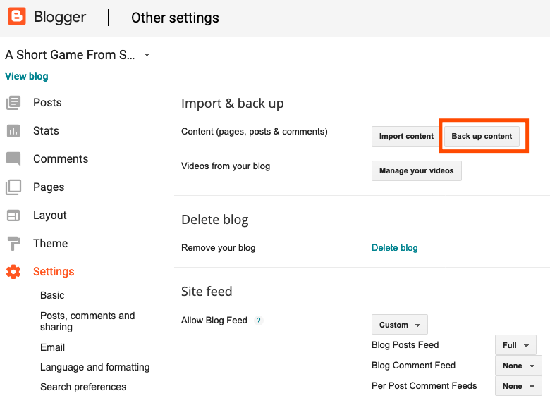 Admin interface in blogger showing Settings and the Back up content button highlighted