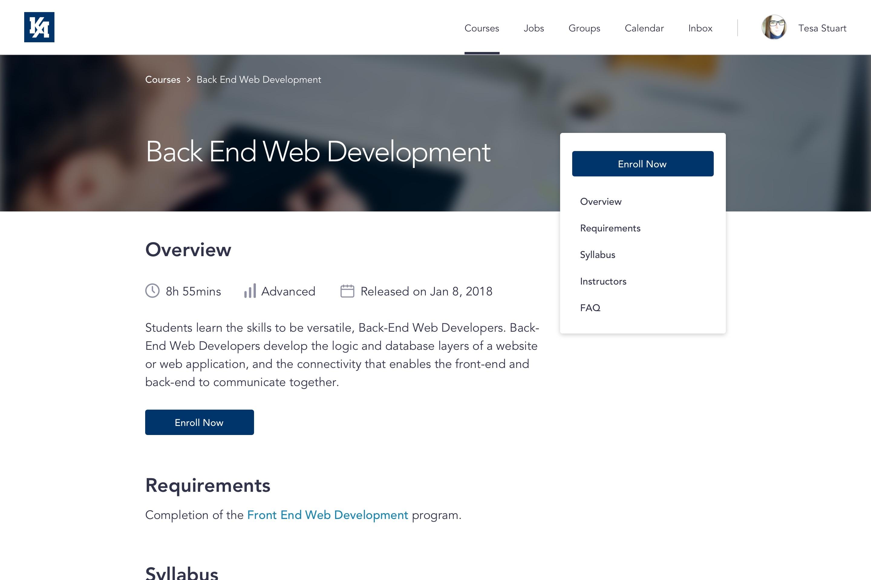 Screenshot of Kenzie Online webapp user admin dashboard