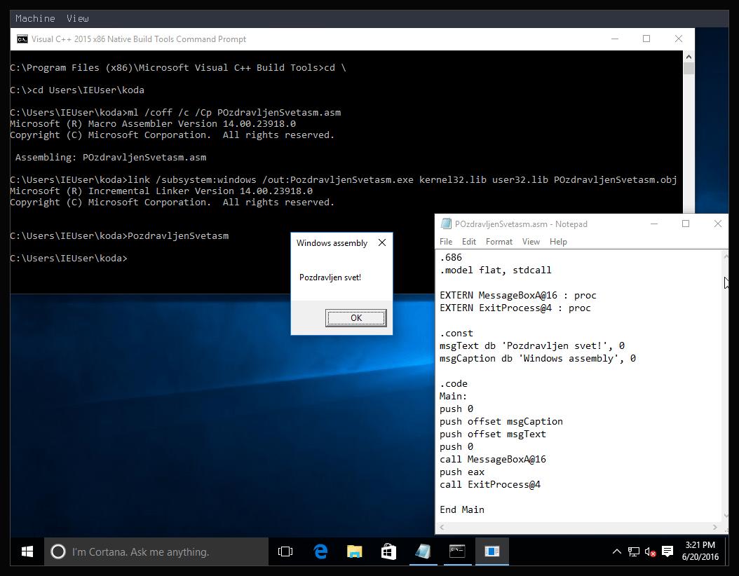 Slika 18: Windows 10 x86 Asm