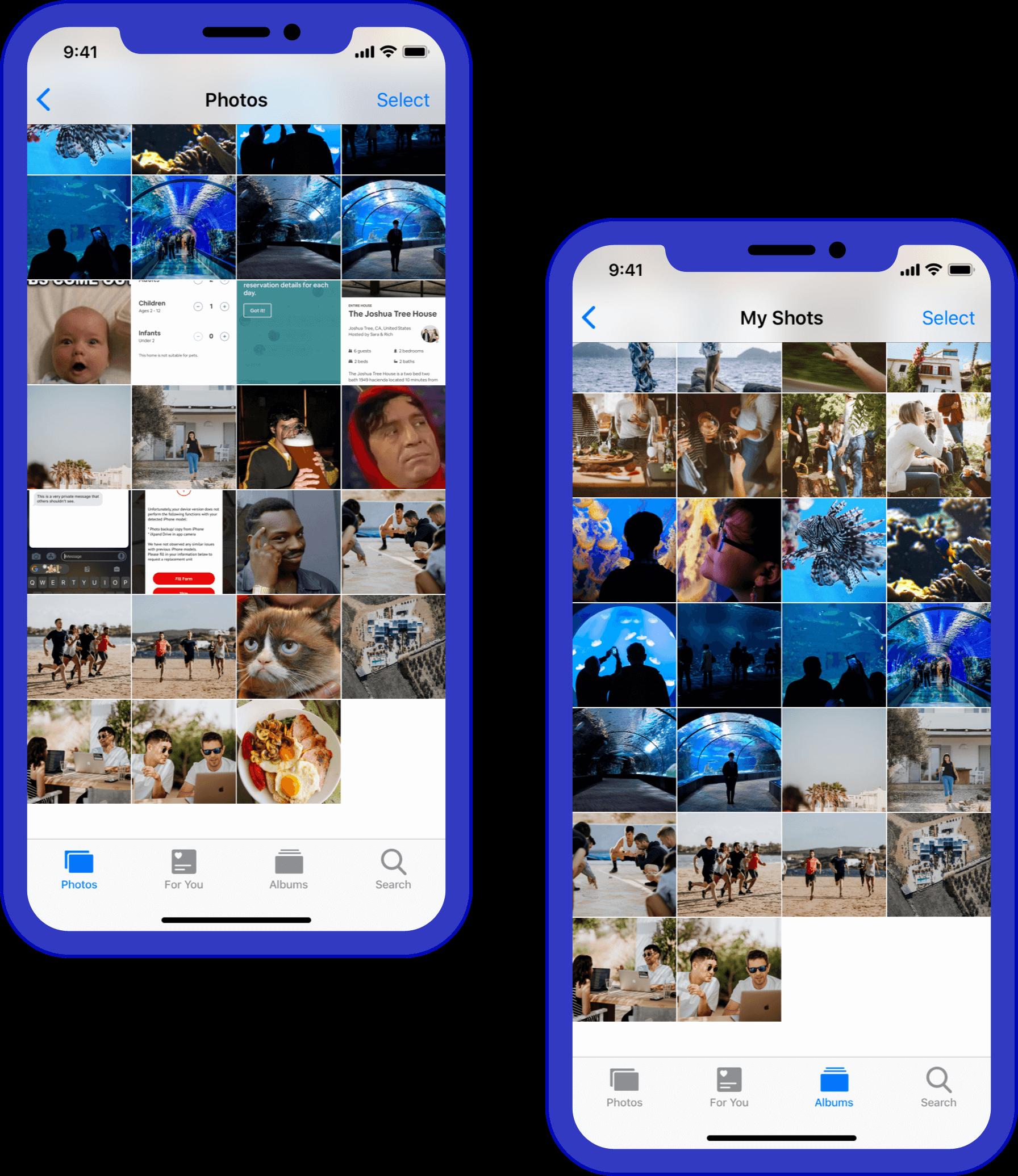 Simulação de dois iPhones: um com o rolo da câmera bagunçado e outro com o álbum mostrando apenas as fotos tiradas naquele telefone.