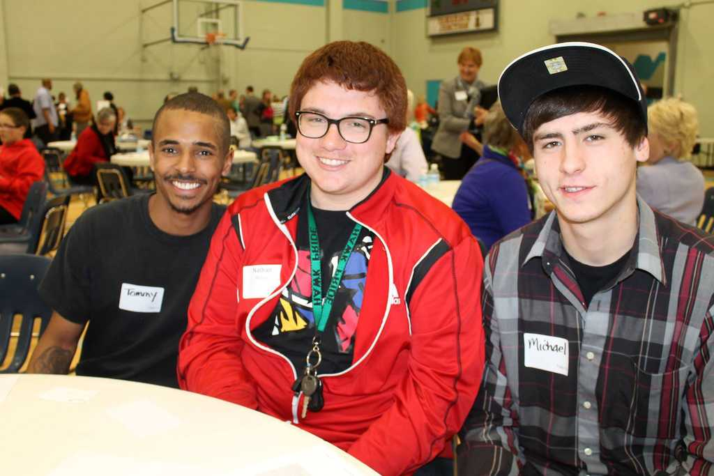 Three boys at an Eddy House celebration