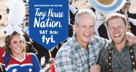 A Facebook cover photo of the Tiny House Nation TV show, showing it airs Saturday 9/8c