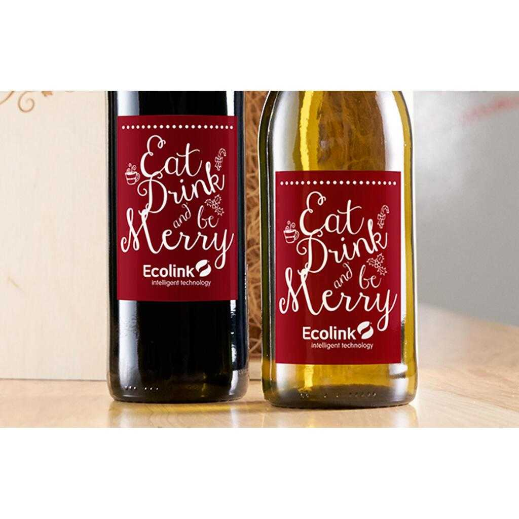 Eat Drink and Be Merry Christmas labeled wine gift