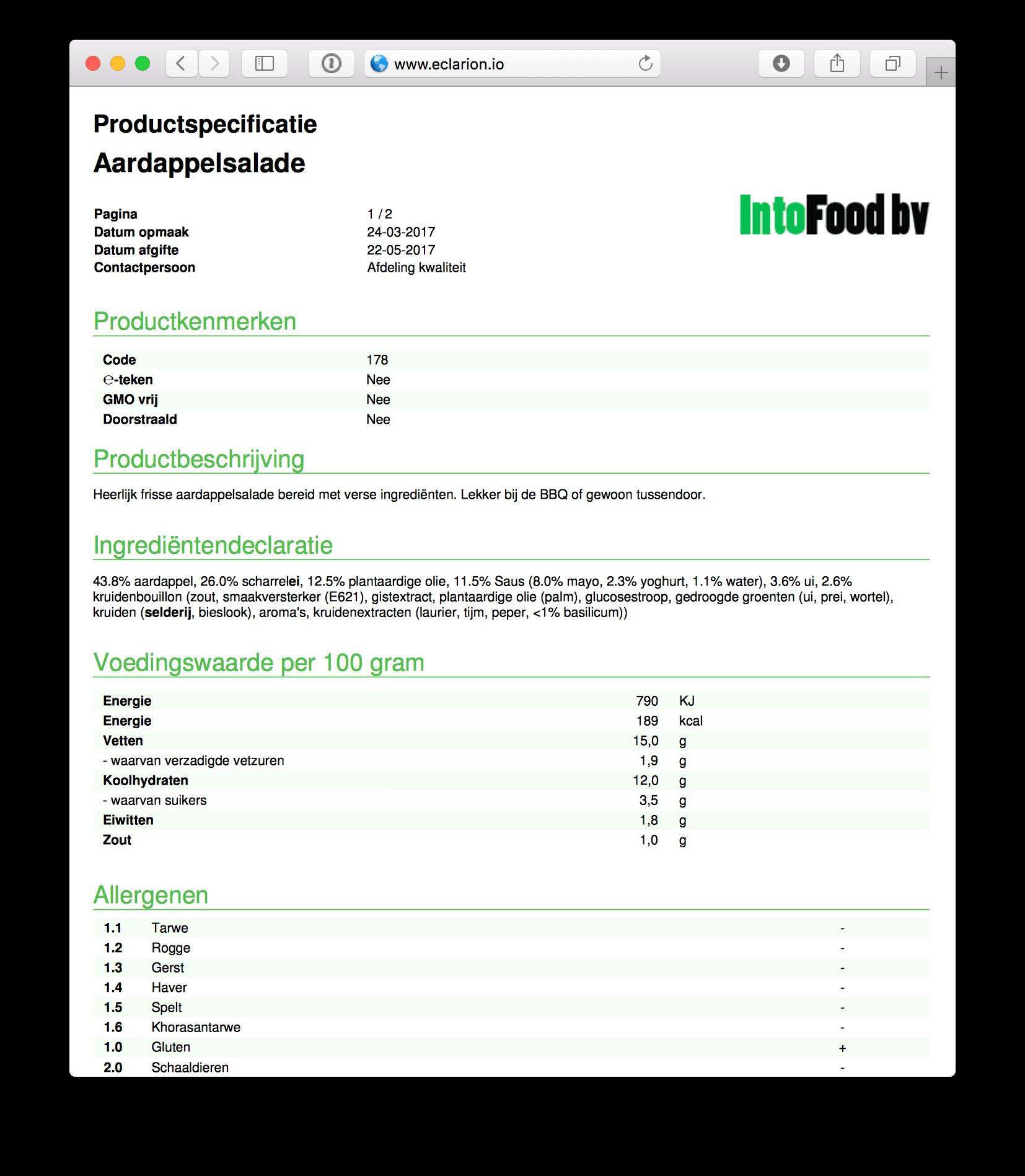 Productspecificatie samengesteld door Eclarion